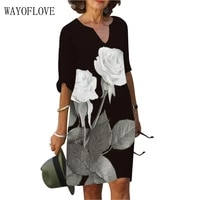 wayoflove autumn rose print dress elegant black 2021 casual holiday half sleeve dresses woman vintage vestidos party dress women