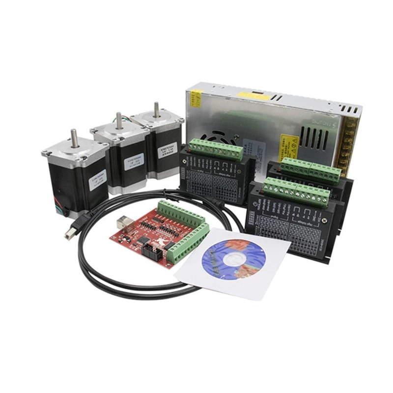 Router 3/4 axis kit cnc TB6600 motor driver+Nema23 stepper motor 57HS7630A4+mach3 4 axis interface board+power supply 4 axis cnc breakout board parallel stepper motor driver module lv8727