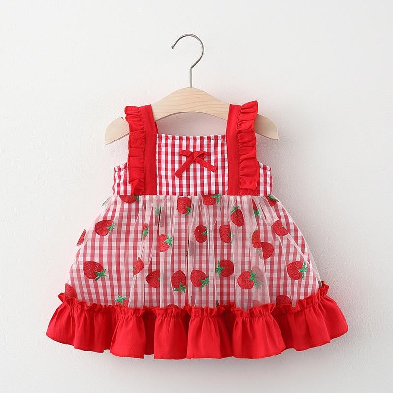 YG brand 2021 new summer lattice strawberry yarn skirt baby girl dress Korean children's wear