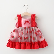 YG brand 2021 new summer lattice strawberry yarn skirt baby girl dress Korean children's wear