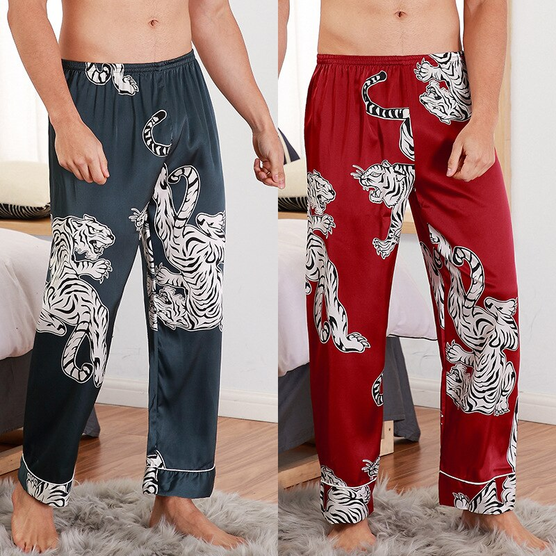 Sleep Bottoms Mens Silk Satin Pajamas Pyjamas Long Pants Lounge Printed Trousers Home Wear Male Sleepwear Night Wear Plus Size