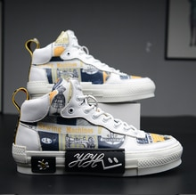 Flats Sneakers Men Printing Sapato Masculino High Top Shoes Men Casual Fashion Tenis Hombre Leather Mens Shoes Zapatos De Hombre