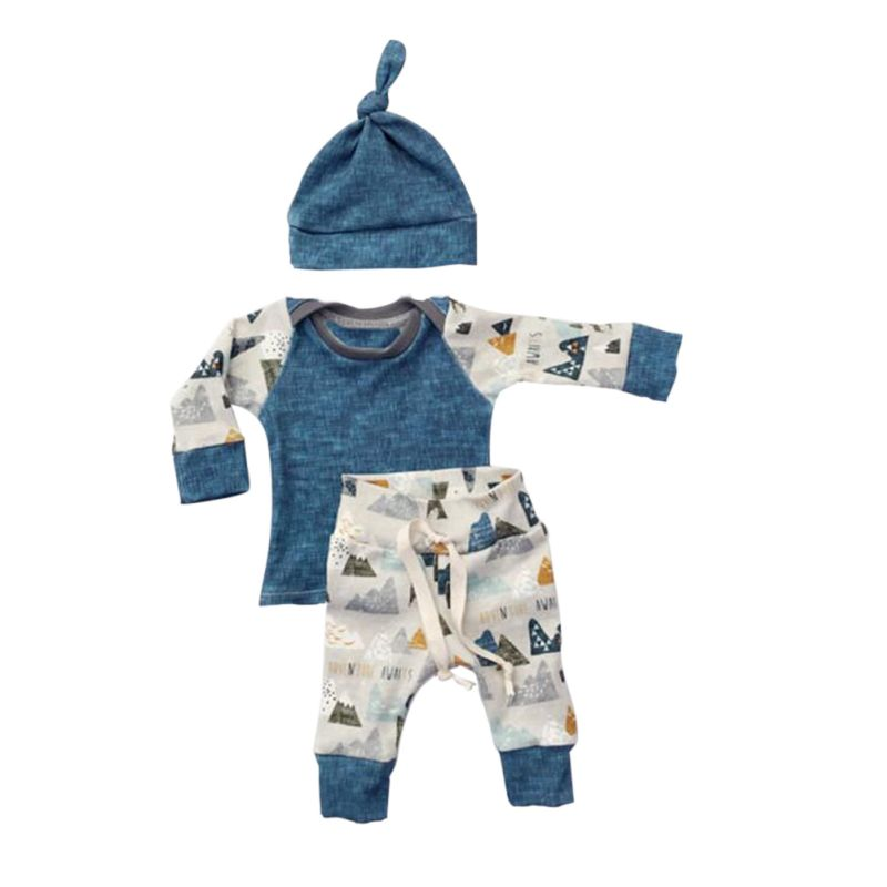 3Pcs Kids Baby Boys Clothes Set Cotton Print Pattern Long Sleeve Top+Pants+Hat Bodysuit Outfits 0-18