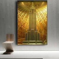 Or Empire etat batiment deco toile peinture imprime et affiche mur Art photos pour salon decoration de la maison pas de cadre
