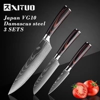 xituo kitchen knife set 2 3pc japanese chef knife vegetable meat cleaver fruit paring knife stainless steel santoku cooking tool