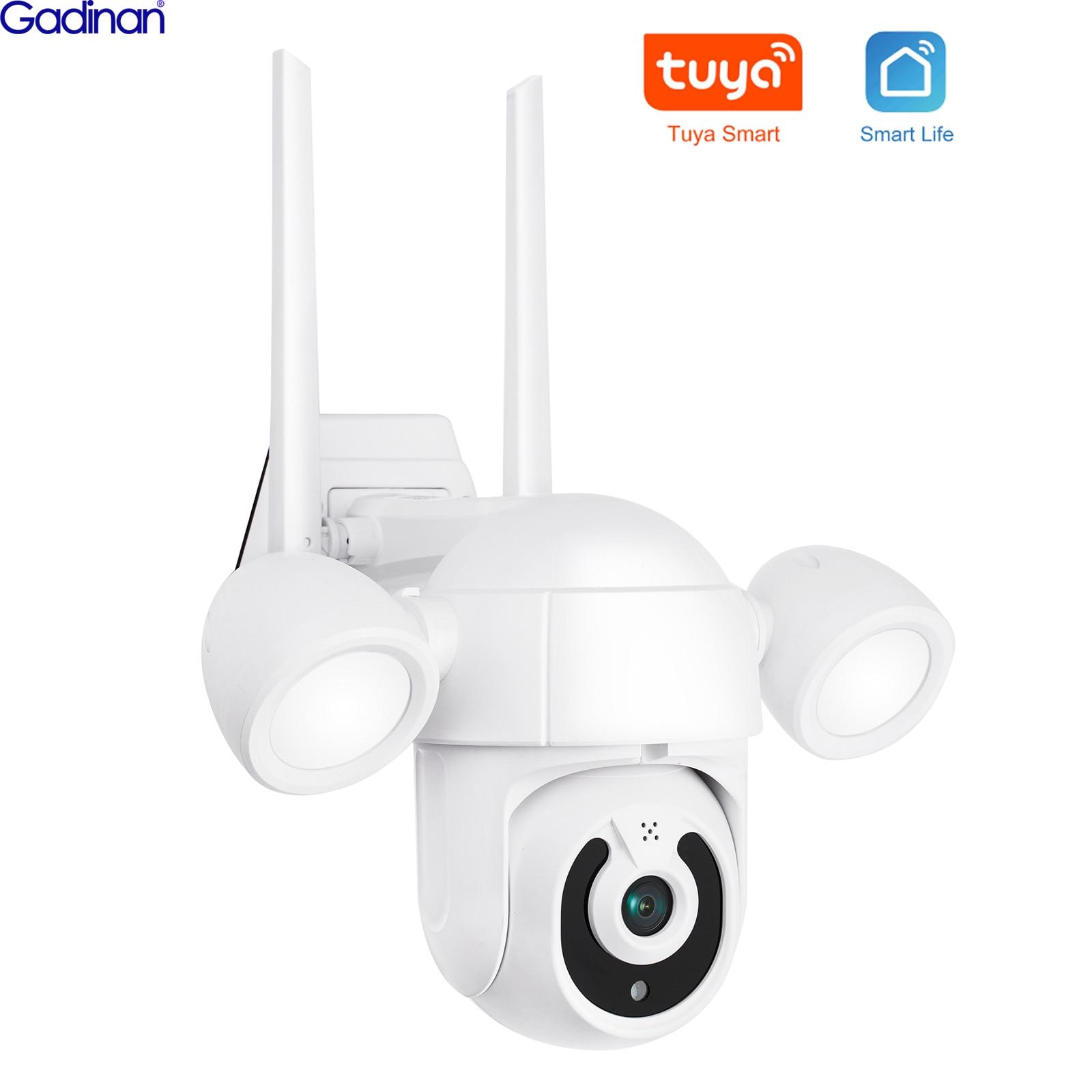 5MP PTZ IP Camera Tuya Wifi Outdoor AI Human Detection Audio 1080P Wireless Floodlight Security CCTV