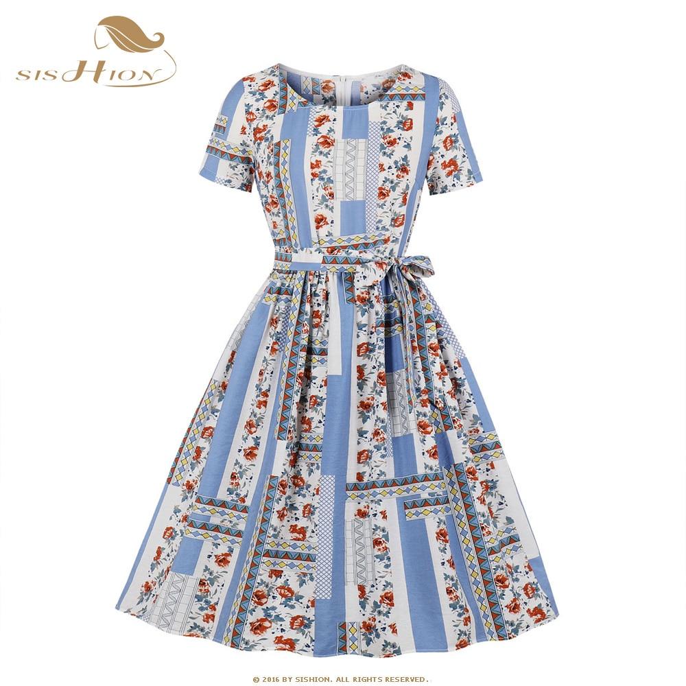 SISHION contraste Color azul flor estampado Vintage vestido SP1174 estilo Hepburn atado para mujeres vestido Irregular de cuello redondo
