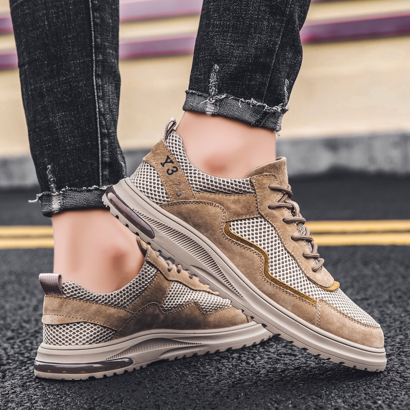 Suede Leather And Mesh Men Shoes Lace-up Casual Quality Flats Lace-Up Walking