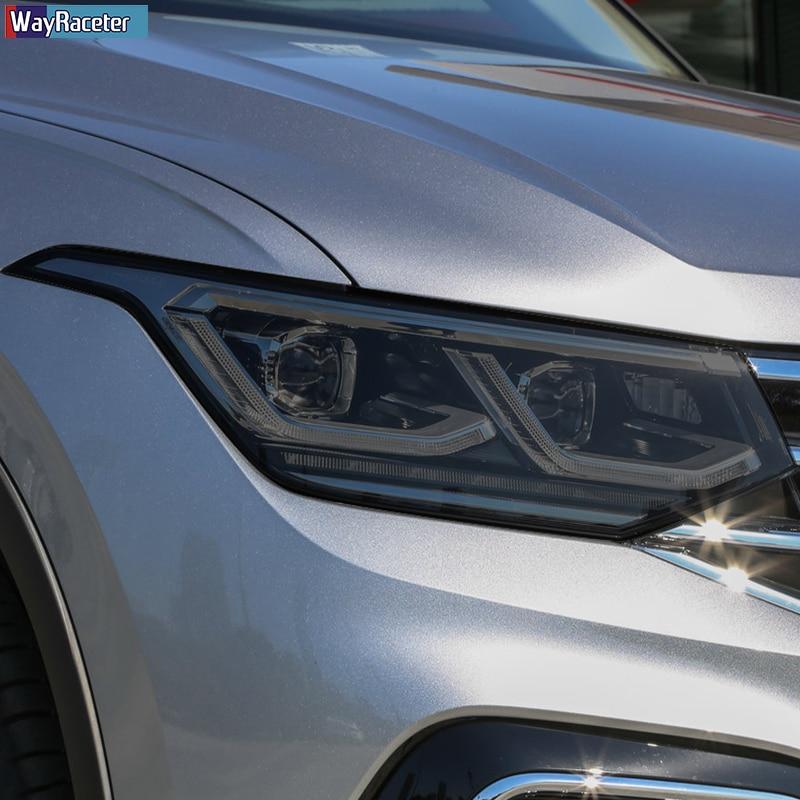 2 قطعة سيارة العلوي طبقة رقيقة واقية الجبهة ضوء شفاف المدخن الأسود بولي Sticker ملصق ل Volkswagen VW تيجوان Facelift 2020 2021