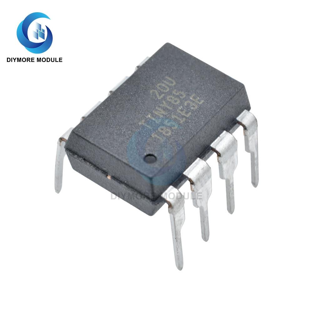 10 قطعة ATTINY85-20PU IC رقاقة 8-وحدة تحكم مصغرة بالبت مع 2/4/8K بايت في النظام برمجة فلاش DIP-8 ATTINY85-20PU