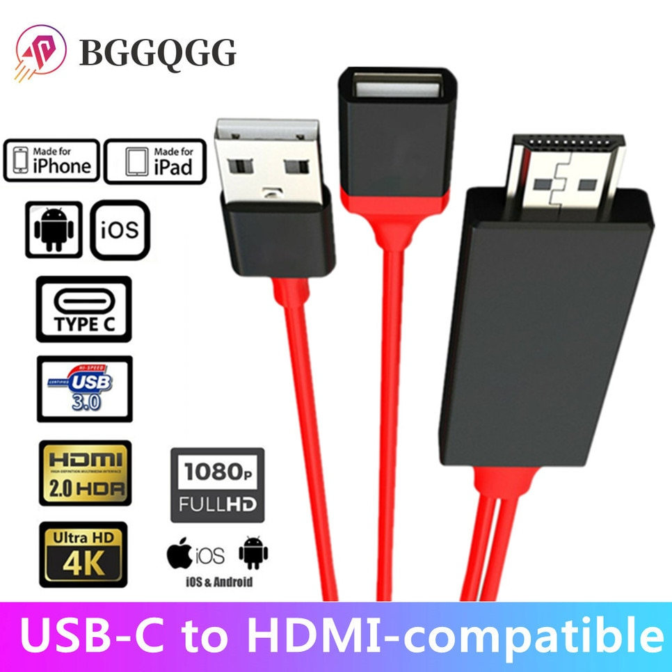 BGGQGG-convertidor compatible con Usb a HDMI, Cable Av Lightning a Mirroring, adaptador...
