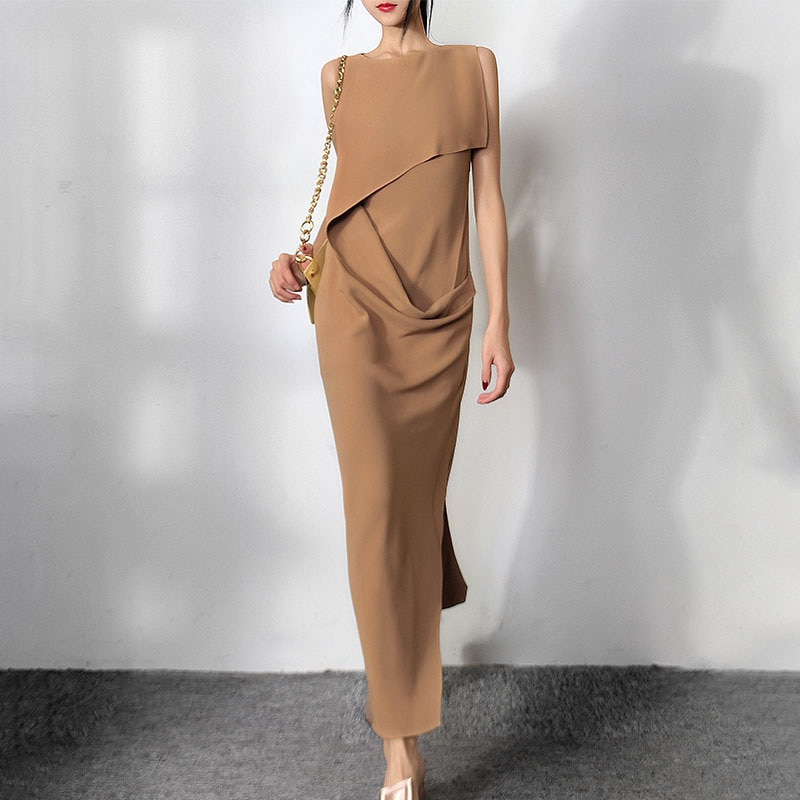 فستان حريمي غير منتظم للخروجات اليومية رقبة دائرية بدون أكمام عالي الخصر فساتين نسائية ضيقة موضة خريف 2021