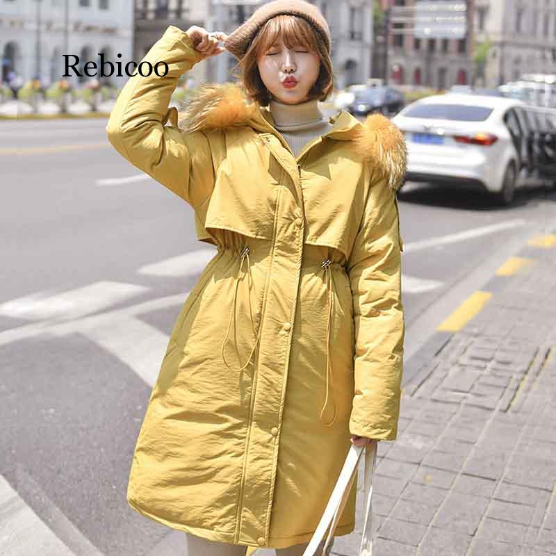 2019 winter jacket women casual with fur collar Winter Jacket Women down cotton jacket female Hooded warm Coat parka new winter jacket women removable warm wool collar parka casual long coat double faced cotton coat black female jacket