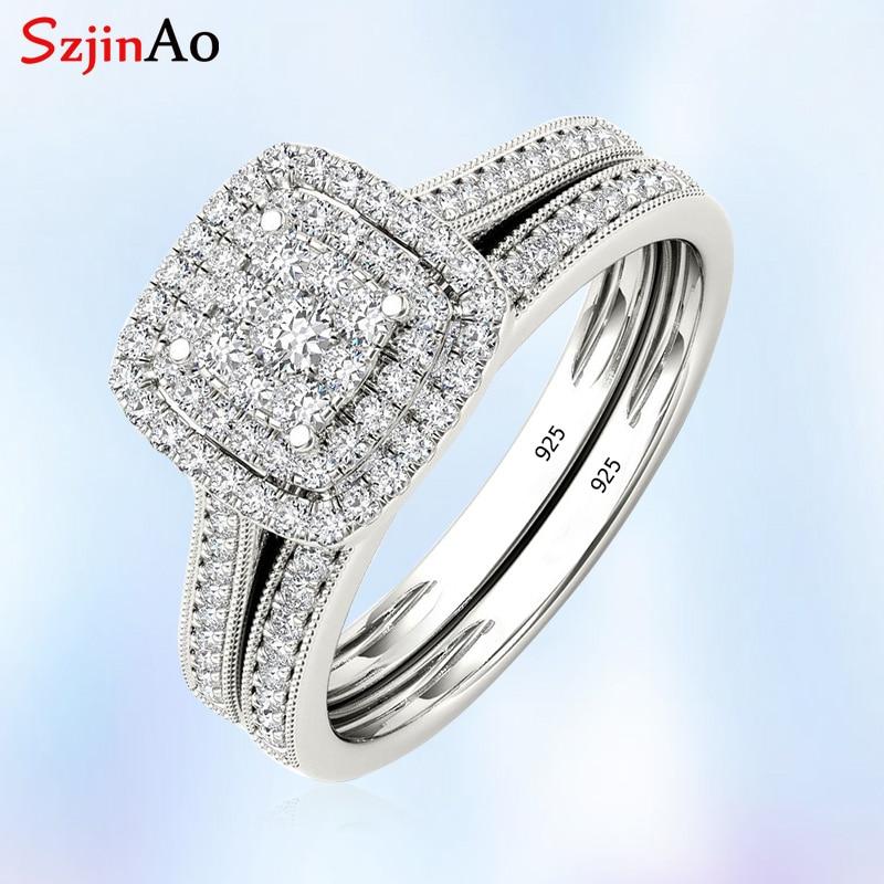 Szjinao обручальное кольцо с бриллиантами, свадебный набор, кольца для пар для женщин с мощеным микро лабораторным бриллиантом, роскошное Платиновое ювелирное изделие
