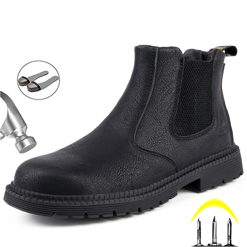 us size classical retro mens boots genuine leather lace up ankle boots zip work safety boots man winter shoes Safety Shoes Men Leather Boots Men Work Shoes Winter Boots Indestructible Safety Boots Chelsea Shoes Anti-puncture Work Boots