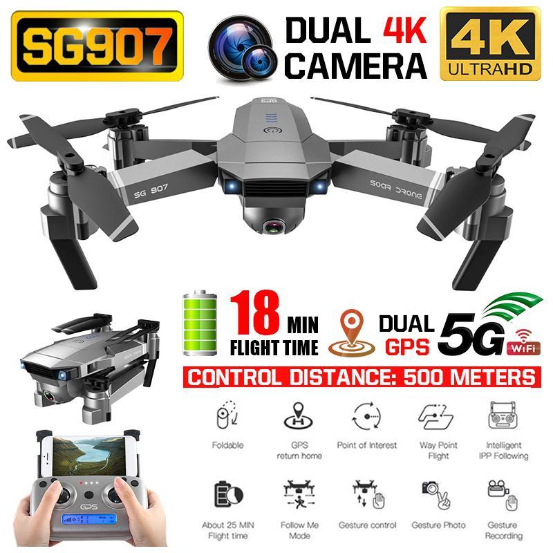 Drone 4K profesional de GPS SG907 Quadcopter con cámara Dual de HD gran angular Anti-shake 5G WIFI FPV plegable Drones GPS sigue en mí