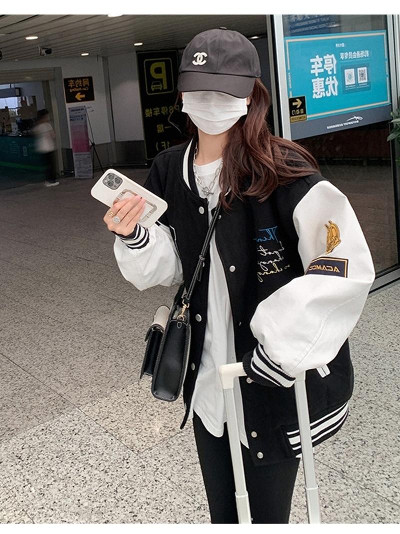 Splicing Baseball Jackets Women's 2021 Spring and Autumn New Korean Loose and Jacket