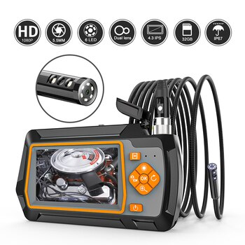 1080P 5.5mm Dual Lens Endoscope Camera with 4.3