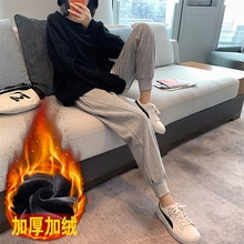 Fleece-Lined Thick Track Pants Women's Fall and Winter Outer Wear High Waist Loose Ins Straight Slim
