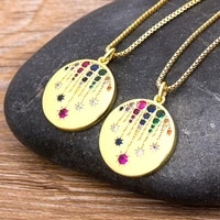 new classic star moon copper zircon pendant gold chain necklaces fine party wedding new year jewelry for women girls best gifts
