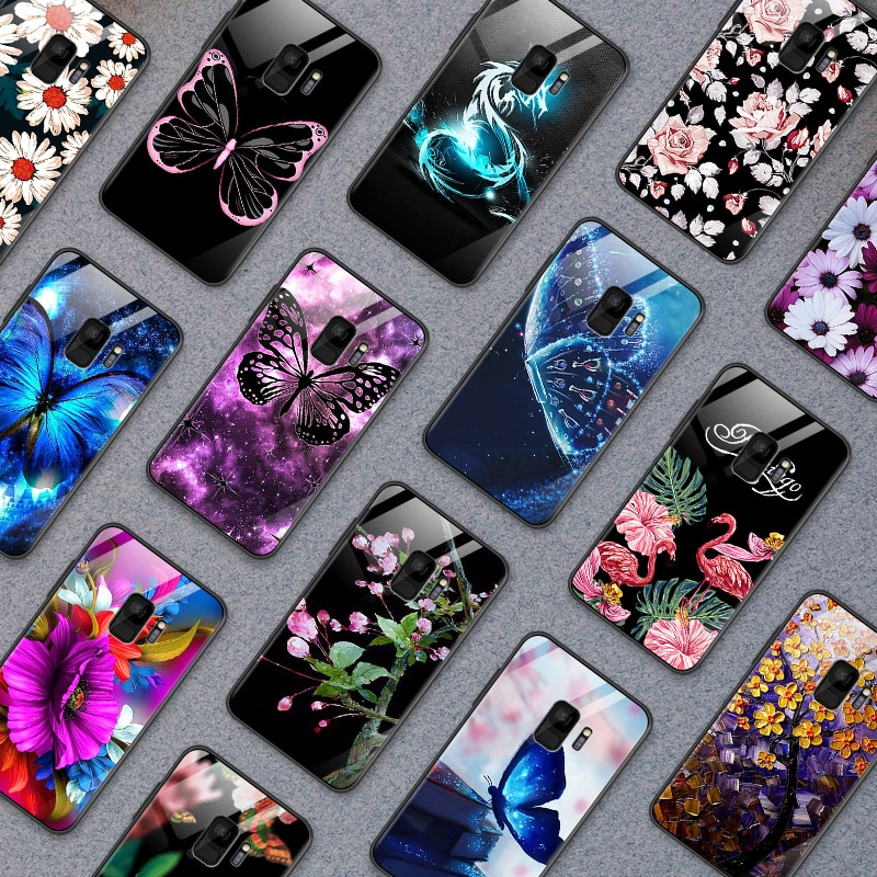 Para OnePlus 3 3T 5 5T 6 6T 7 7 Pro carcasa trasera de cristal templado para Samsung Galaxy S8 S9 S10 Plus patrón de mariposa flor TPU Shell