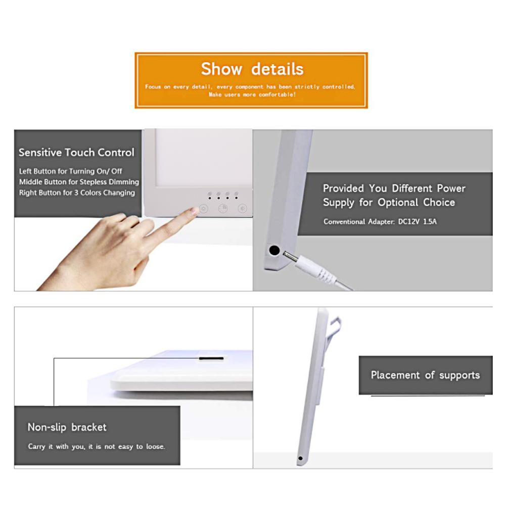 220V/110V led sad Lamp Touch Stepless Dimmable Phototherapy Bionic Light Timed Therapy Light Happy Depression Anti-fatigue Lamp enlarge