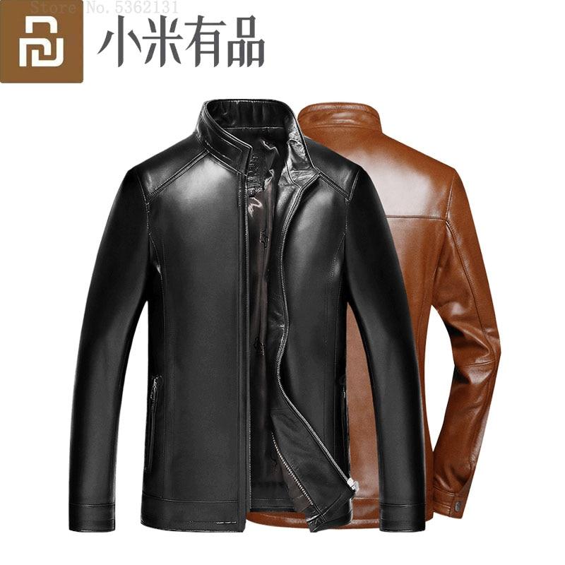 Youpin Men's Leather Jackets Genuine Leather Jacket Coats Biker Motorcycle PU Jacket Windproof Warm Autumn Winter Men Outerwear