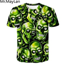 2020 New Skull Funny Expression 3D Print t shirt Men/Women Fashion Ropa Casual Streetwear Tee shirt Boys Green Clothes Drop ship