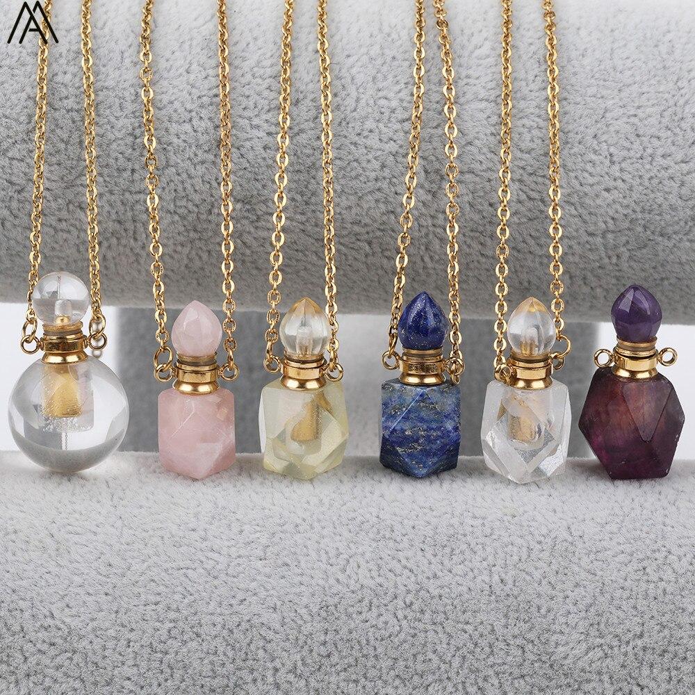 COLLAR COLGANTE botella Perfume cuarzo blanco claro Natural redondo mujeres fluorita piedra oro Acero inoxidable joyería DSS-209AMBH