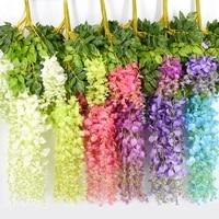 Couronne de fleurs artificielles de glycine  110CM  12 pieces  a suspendre au jardin de mariage  verdissement en plein air  bricolage  decoration de jardin pour la maison