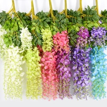 12Pcs 110CM Wisteria Artificial Flower Wreath Hanging On The Wedding Garden Outdoor Greening DIY Par