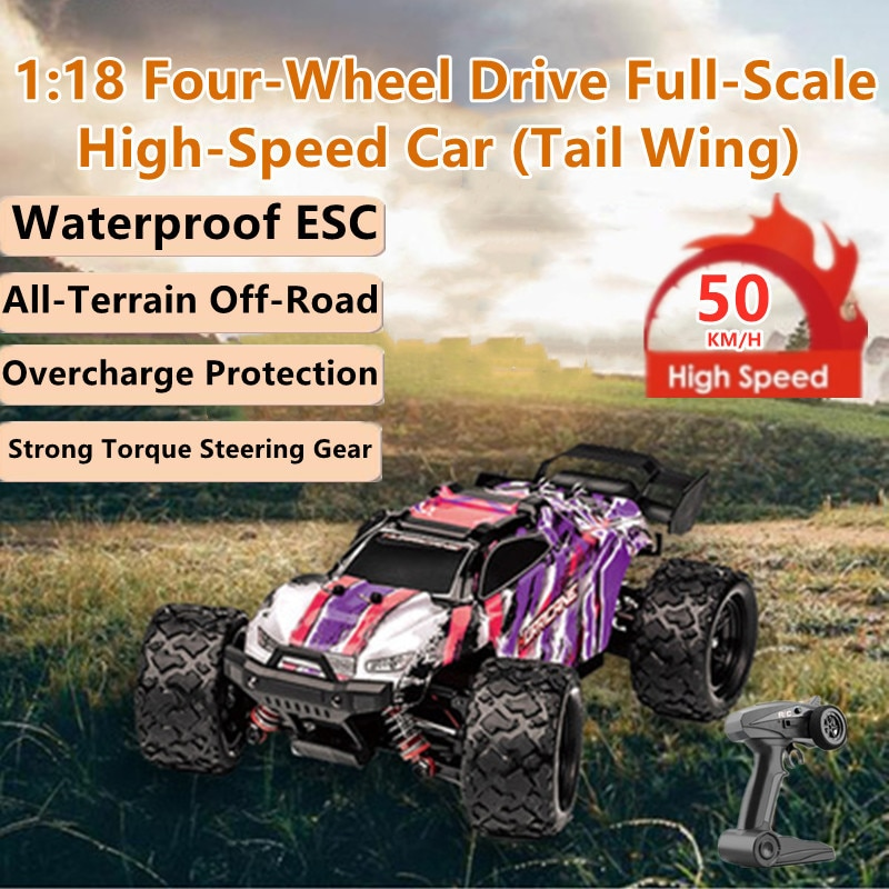 High-Speed Off-Road All-Terrain Remote Control Bigfoot Car 50KM/H Waterproof ESC Independent Suspension Shock Absorber RC Buggy