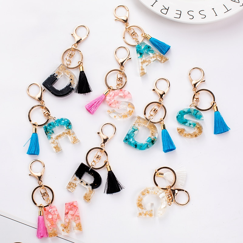 Orignal Creative Letter Alphabet Crystal Arylic Liquid Keychain For Women Key Chains Ring Car Bag Tassels Pendent Charm  D587