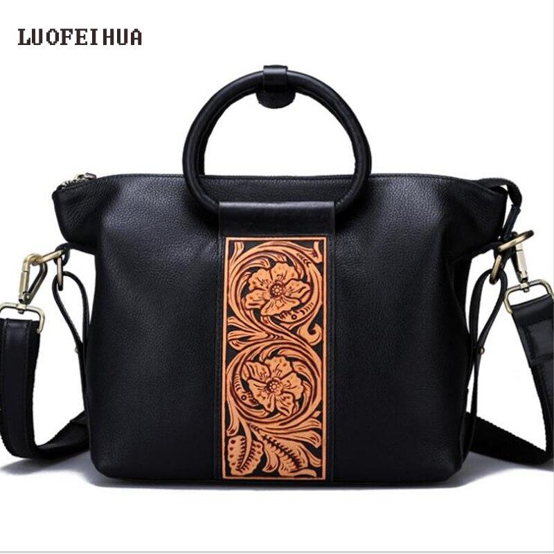 LUOFEIHUA 2019 nuevo bolso de cuero genuino de lujo de cuero original tallado bolso de mano Retro de personalidad Bolso multiusos