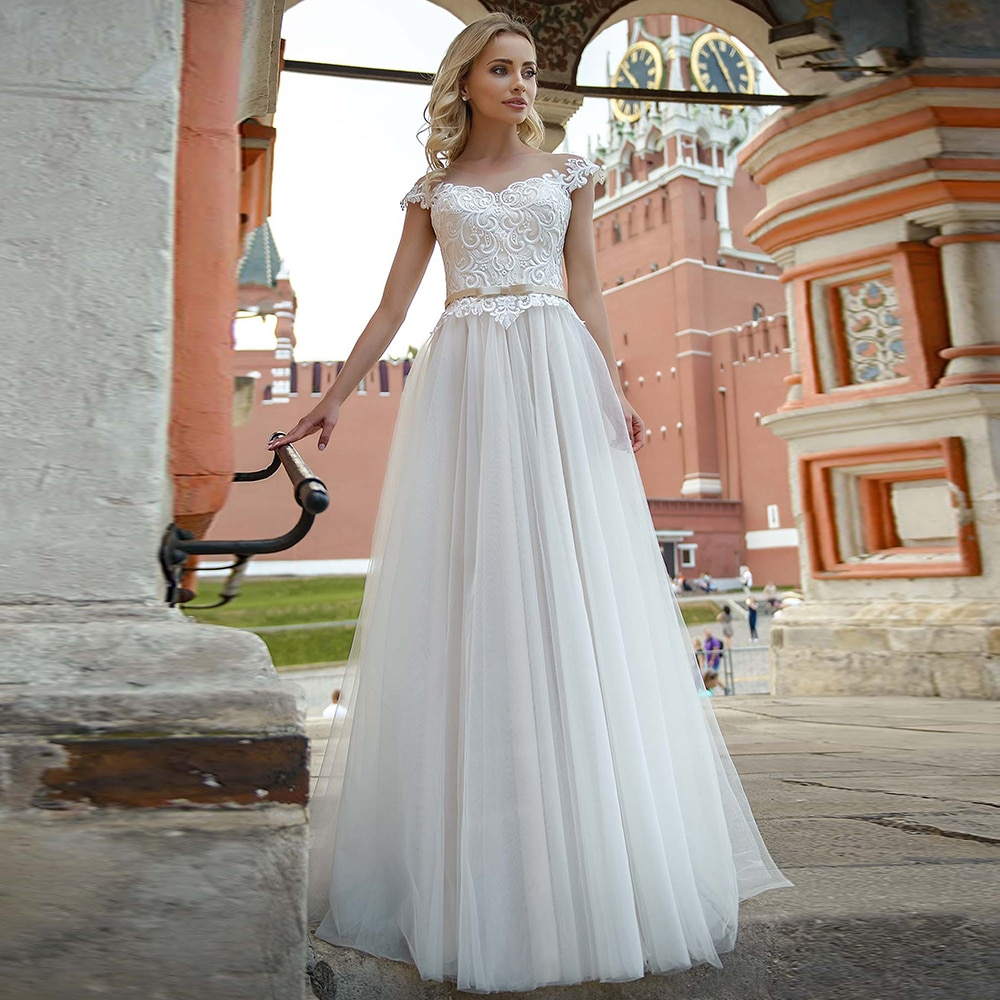 Promo Appliqued Cap Sleeves Wedding Dress A Line Tulle Corset Closure Custom Made Full Length Baptism Church Low Cut Party Bridal Gown