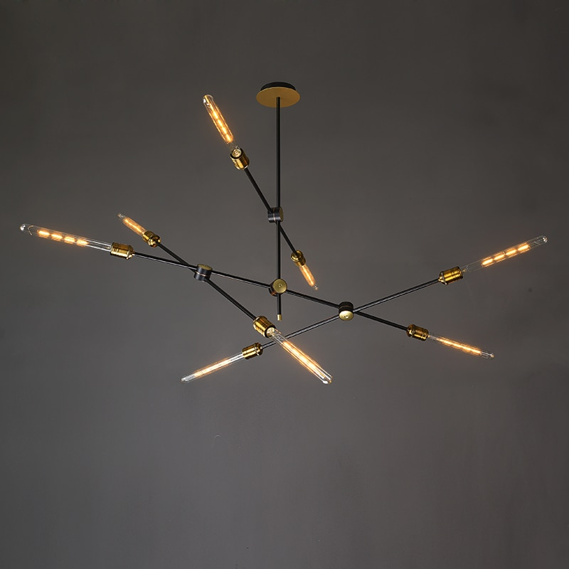 Retro Black LED Chandelier Lighting For Living Room Bedroom Restaurant Nordic Loft Style Adjustable Hanging Lamp AC 90V To 260V