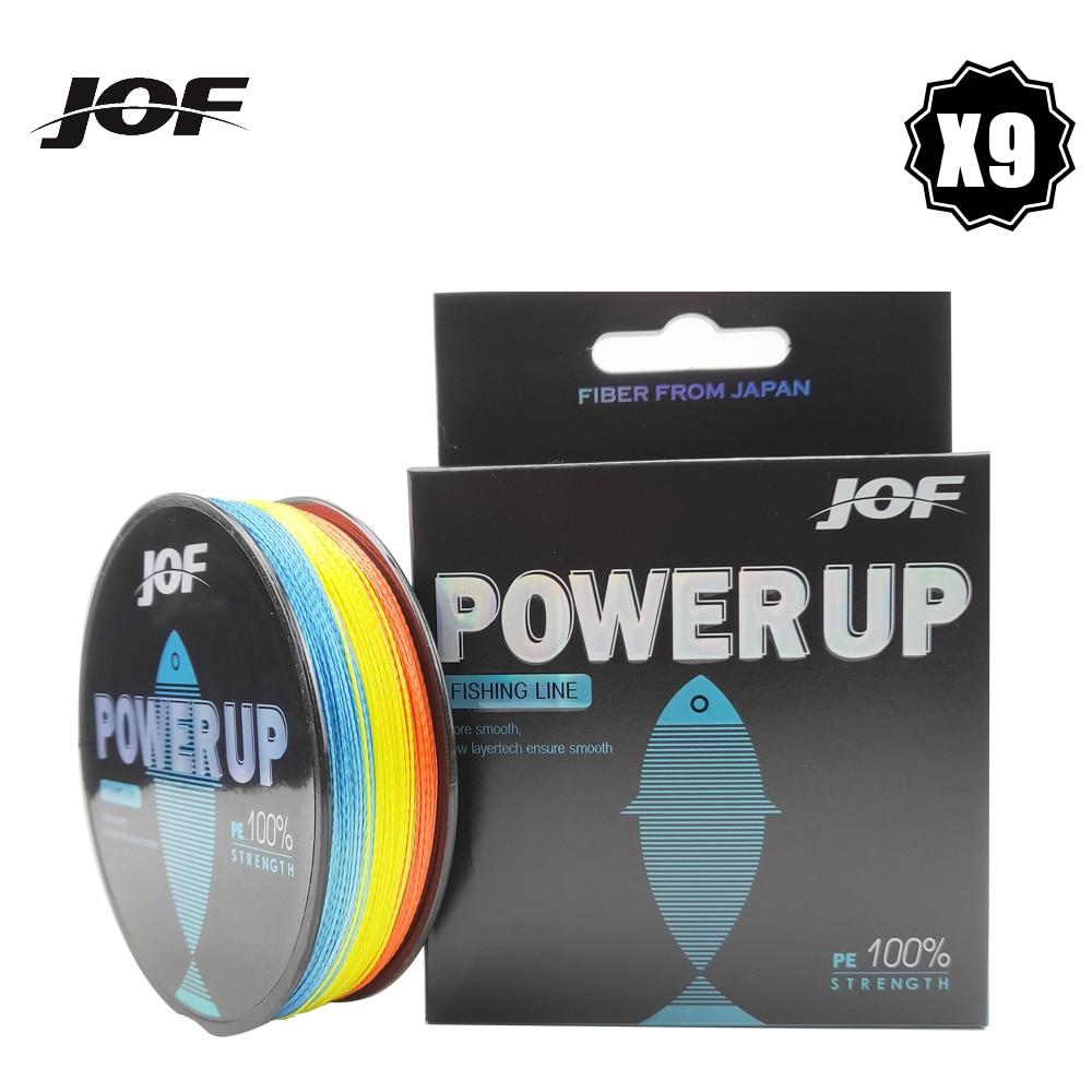 JOF 9 Spinnt Angelschnur 150M 300M 500M 9 Strands Geflochtene Angelschnur Multifilament PE Linie 20 30 40 50 60 80 100LB 5 farbe