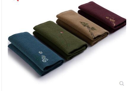 Cotton and linen hand-painted tea towel Chinese style square scarf Zen tea cloth handmade retro rag tea ceremony
