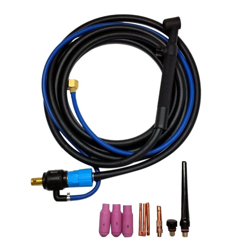 WP-17V tig cabeça de soldagem tocha ferramenta cabeça flexível com gás valved 35/50 4 m cabo