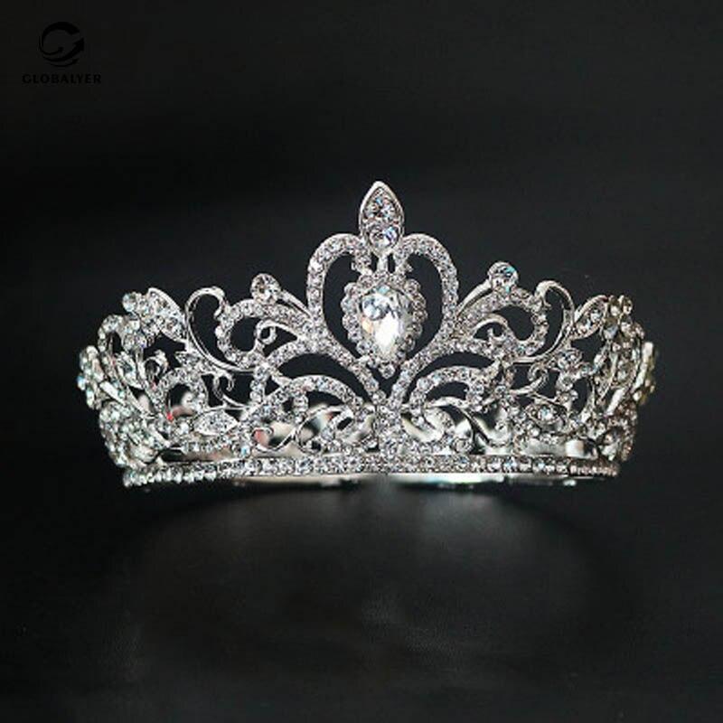 Gran oferta, europea y americana Nueva joyería nupcial, corona de aleación, pasarela, pasarela, tocado, campeón, corona, envío gratis