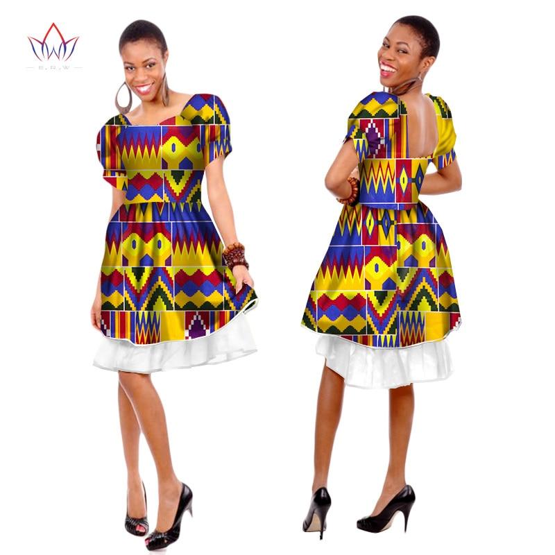 Summer African Ankara Dashiki Ladies Clothes O-neck African Print Dress Bazin Short Sleeve African Clothes For Women Wy229 недорого
