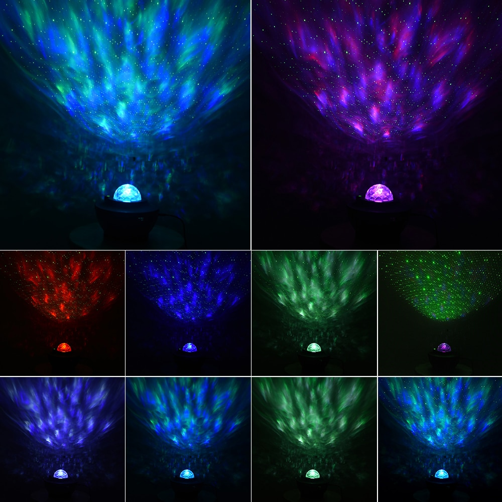 USB LED Star Night Light Music Starry Water Wave LED Projector Light Bluetooth Projector Sound-Activated Projector Light Decor enlarge