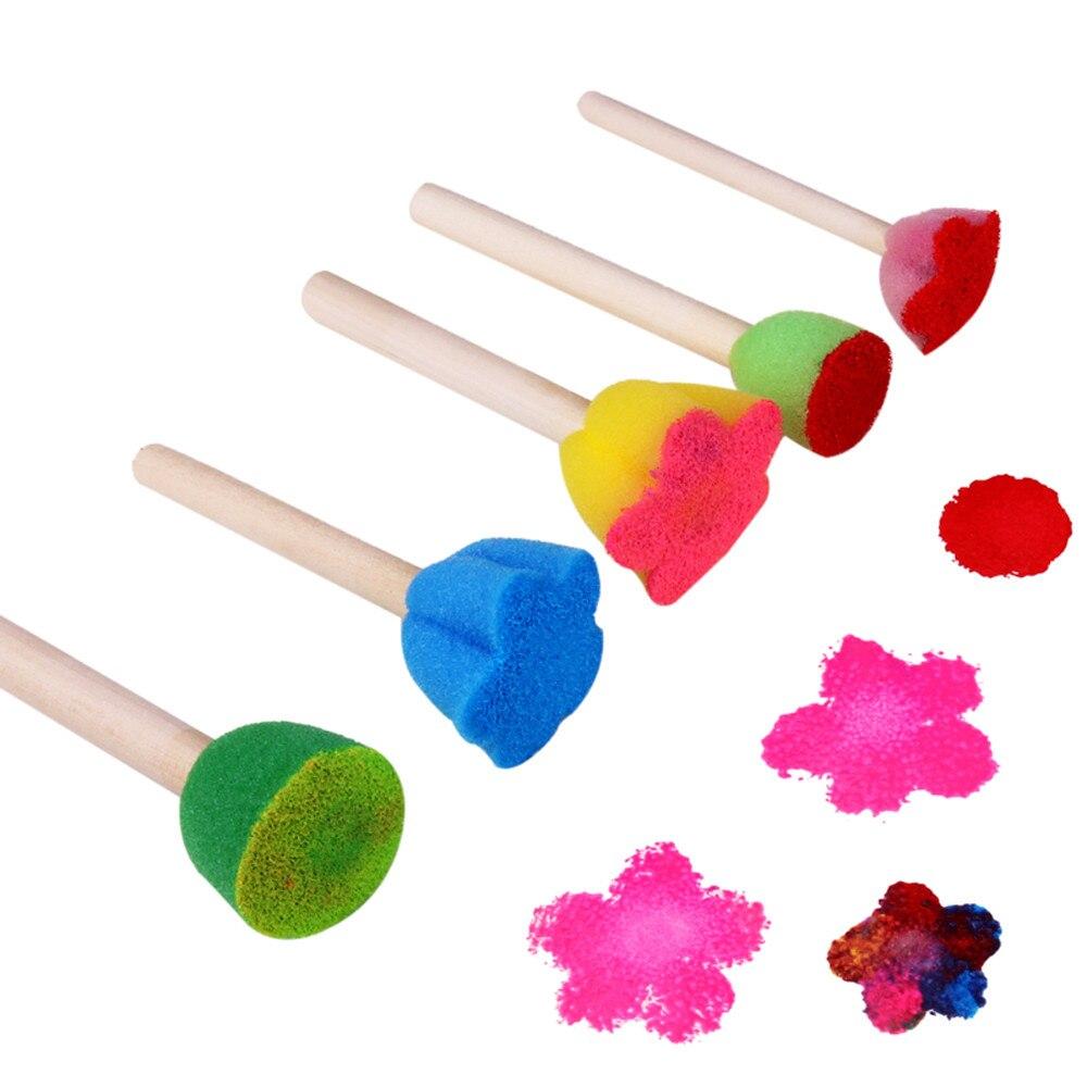 5 uds. Patrón colorido DIY juguetes Graffiti herramientas de pintura pinceles juguetes educativos esponja de pintura pincel juguetes para niños juguetes zabawki