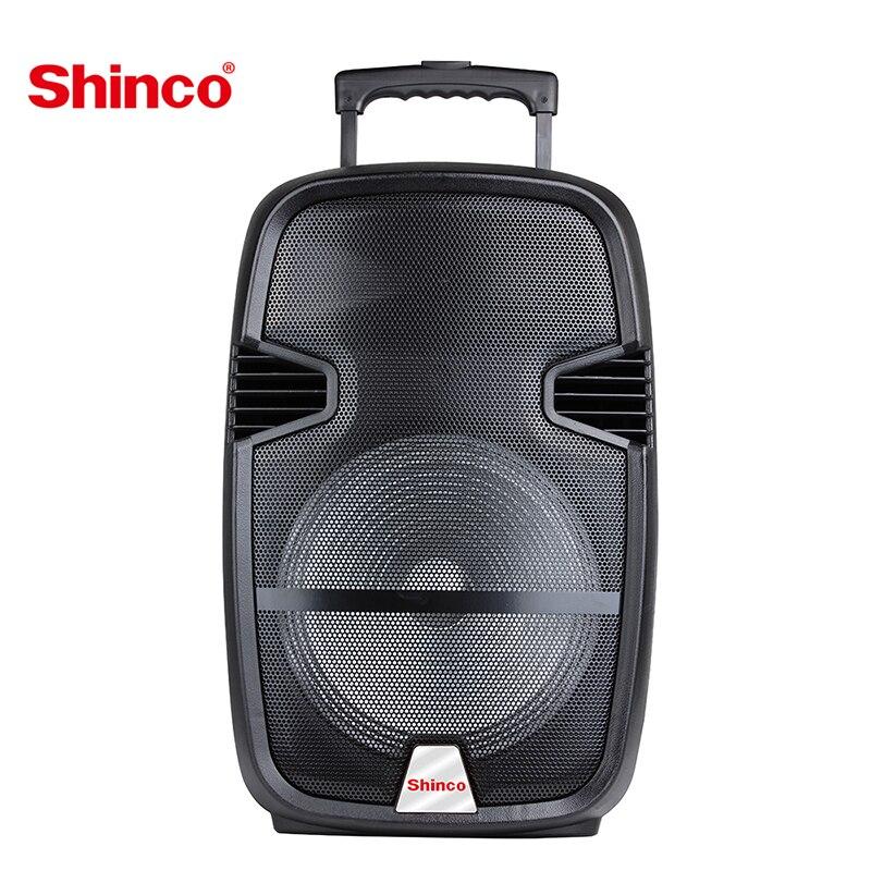 Shinco portátil trole sistema de alto-falante bluetooth dj karaoke alto-falante com microfone festa em casa pa com led ao ar livre fm