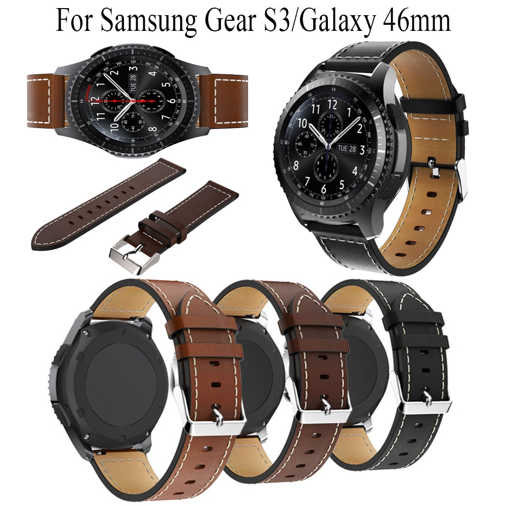 22mm Genuine Leather Strap For Huawei Watch GT Bracelet for Samsung Gear S3 Frontier/Classic Watchband Belt