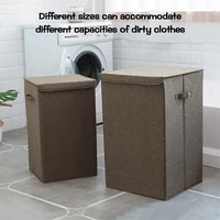 covered cotton and linen folding laundry basket waterproof storage dirty clothes bucket foldable waterproof laundry basket