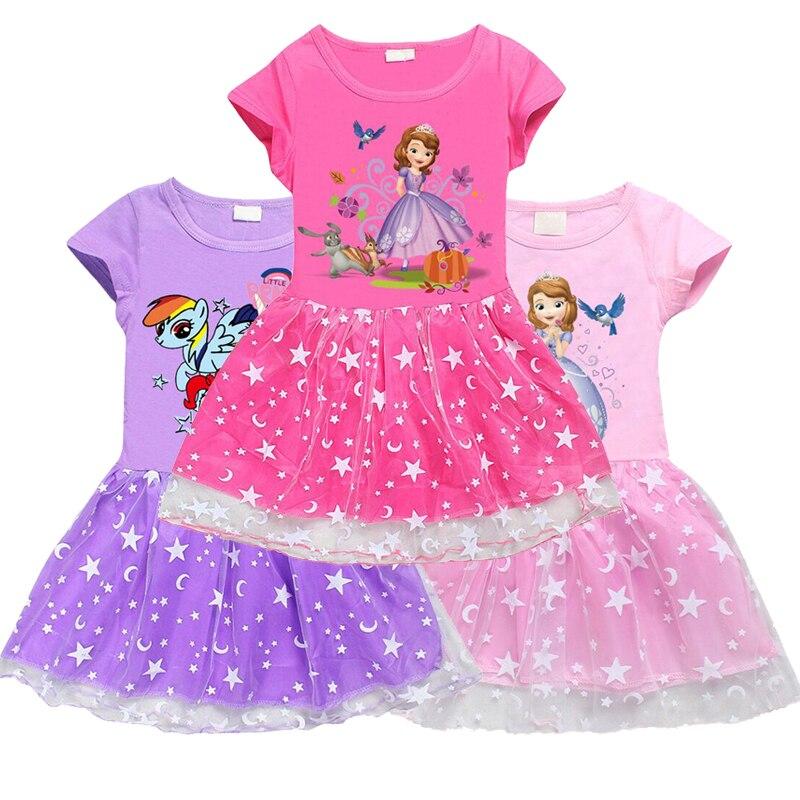 Vestido Sophia para niñas. Disfraz arcoíris Casual de verano 2020 con dibujo de Pony.