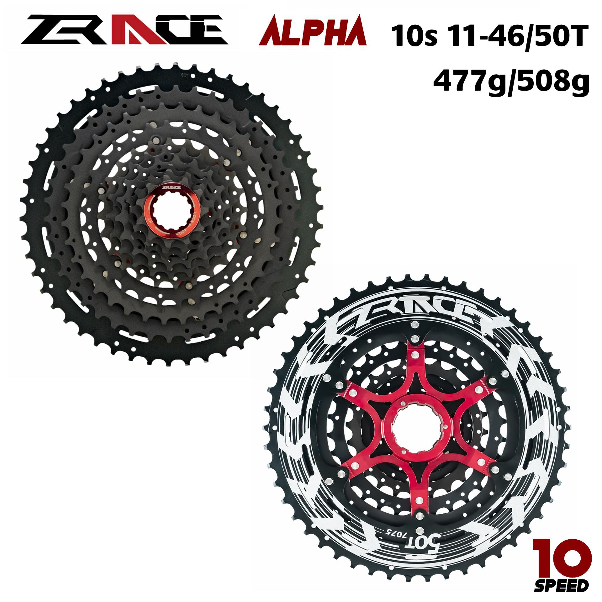 Zrace alpha 10s light castete 100s MTB speed bicycle free runner 11-46 T / 50 t-negro
