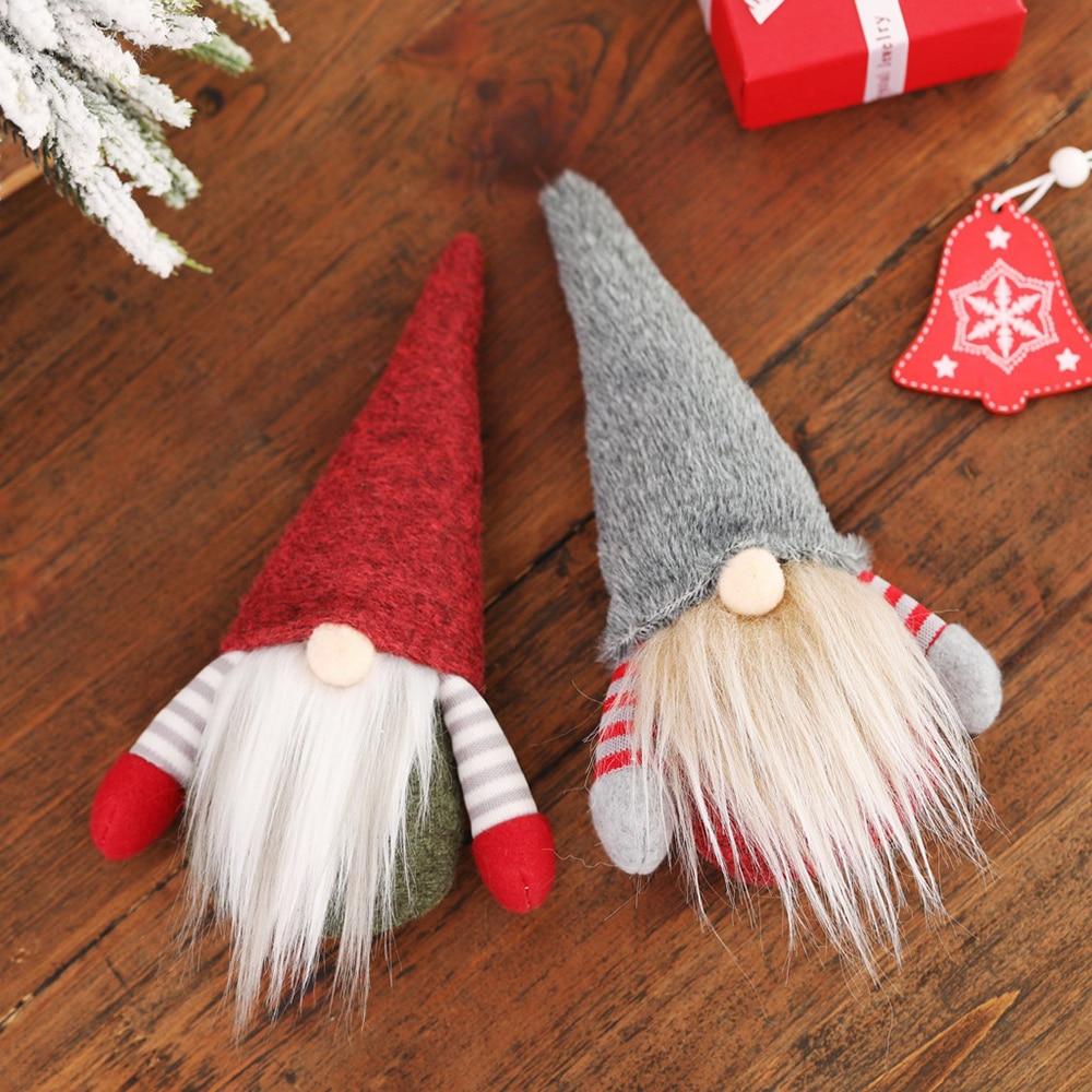 Navidad muñeco de Gnomo sin rostro Santa Claus ornamento de árbol de Navidad colgante elfo decoración juguete Año nuevo regalo para niños
