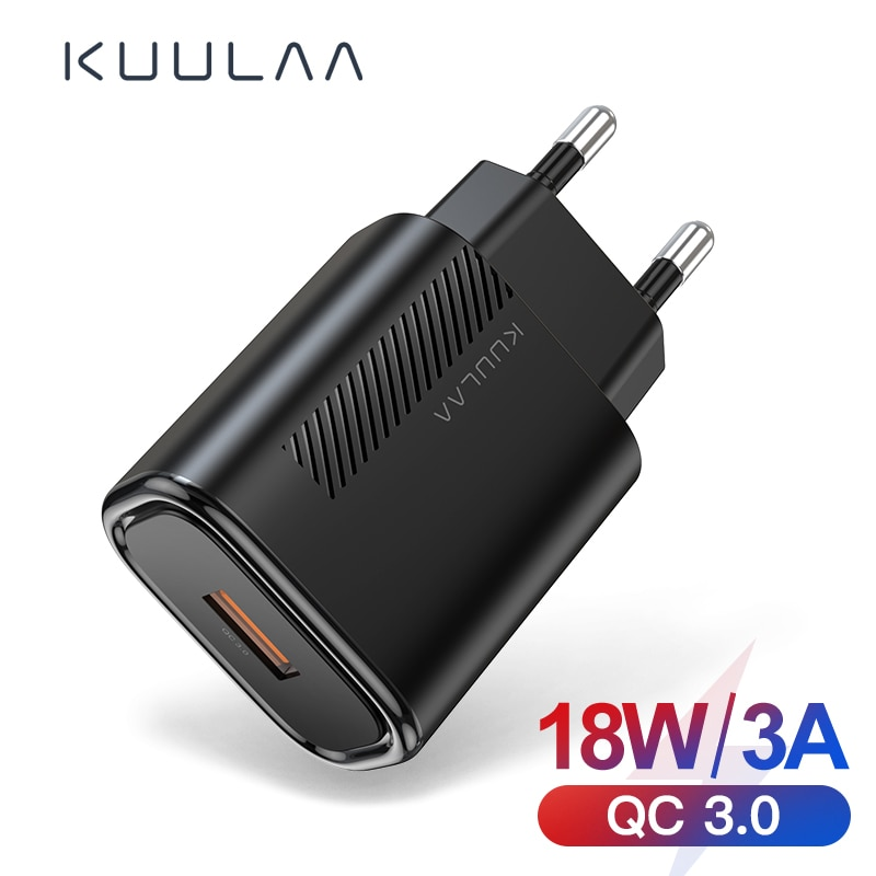 Carregador usb 3.0 qc 18w kuulaa para celulares, carregamento rápido usb para xiaomi redmi note 8, 7, qc3.0, parede carregador de telefone para samsung s10